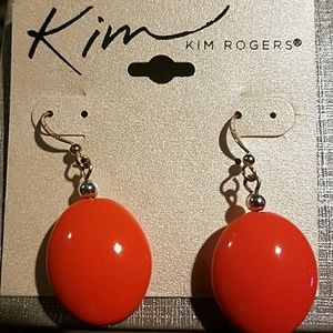 Kim Rogers Orange Silver Earrings Brand New